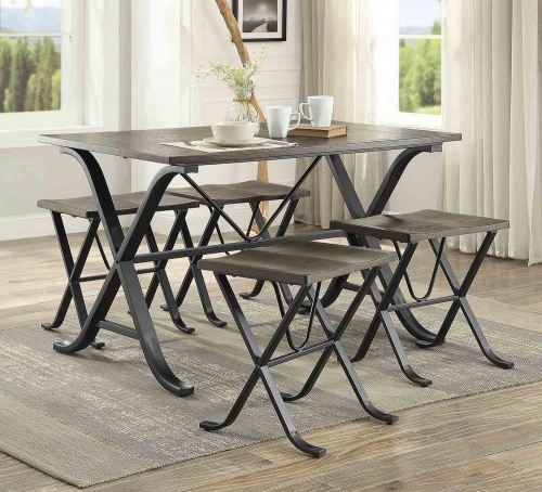 Westerlyn 5-Piece Dining Set - Burnished - Black Metal