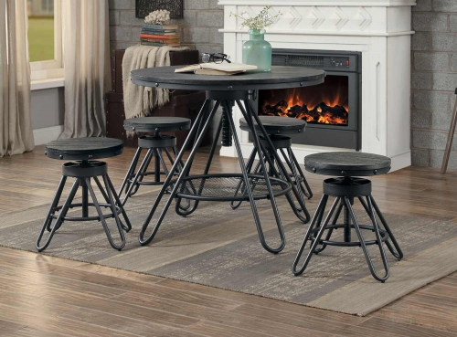 Cirrus Adjustable Round Dining Set - Weathered Gray
