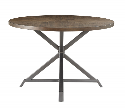 Fideo Round Dining Table - Rustic - Gray Metal