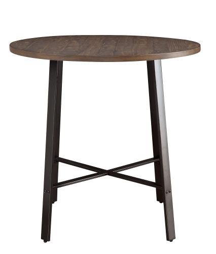Chevre Round Counter Height Table - Rustic - Gray Metal
