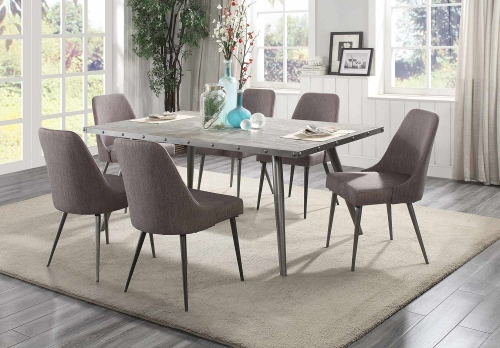 Palladium Dining Set - Elm Solid - Grey Powder Coated Metal