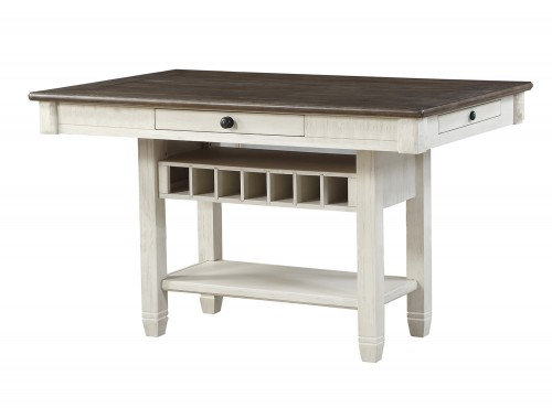 Granby Counter Height Dining Table - Antique White - Rosy Brown