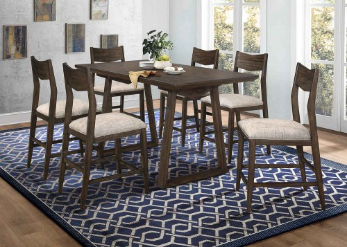 Kirke Counter Height Dining Set - Brown