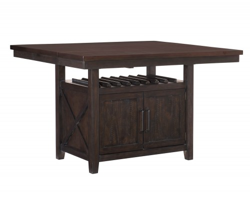 Oxton Counter Height Table with Storage Base - Rustic Brown