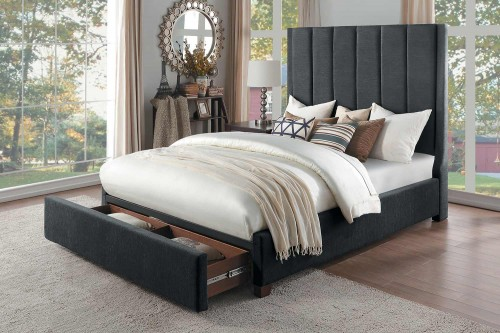 Neunan Platform Bed with Storage Footboard - Dark Gray