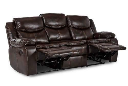 Bastrop Double Reclining Sofa - Dark Brown