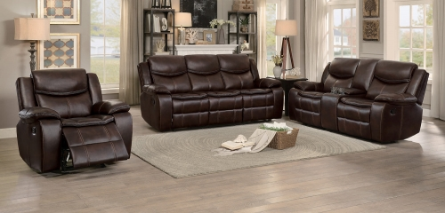 Bastrop Reclining Sofa Set - Dark Brown