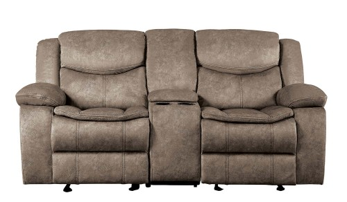 Bastrop Double Glider Reclining Love Seat with Center Console - Brown