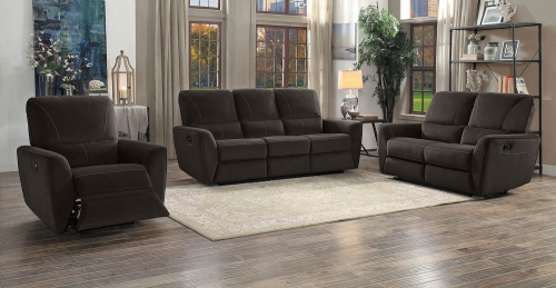 Dowling Double Reclining Sofa Set - Chocolate