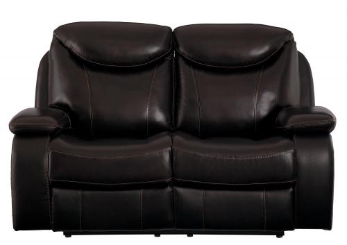 Verkin Double Reclining Love Seat - Dark Brown