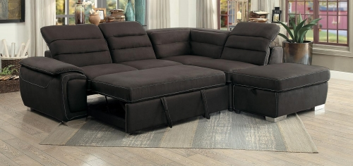 Platina Sectional With Pull-Out Bed And Storage Ottoman - Chocolate