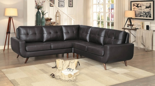 Deryn Sectional Sofa - Dark Brown