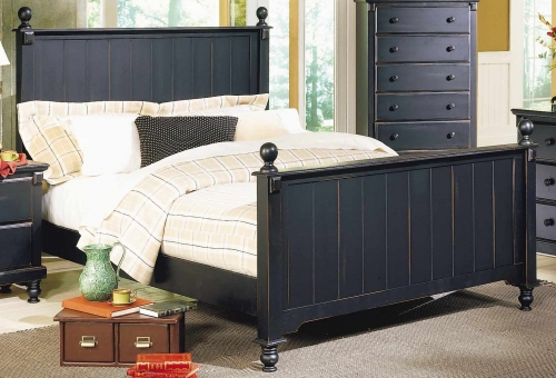 Pottery Panel Bed Black