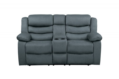Discus Double Reclining Love Seat with Center Console - Gray