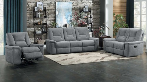 Edelweiss Power Reclining Sofa Set - Metal gray