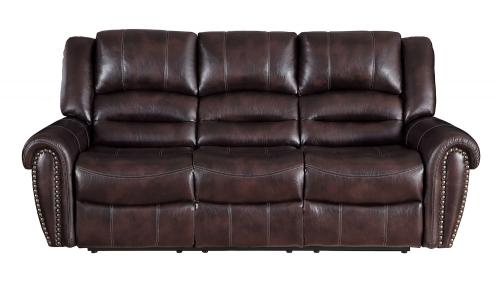 Center Hill Double Reclining Sofa - Dark Brown
