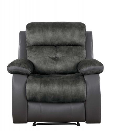 Acadia Reclining Chair - Gray microfiber and bi-cast vinyl