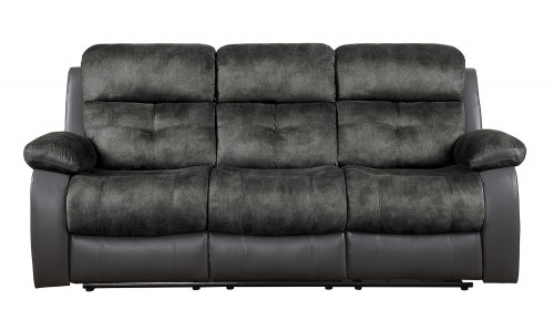 Acadia Double Reclining Sofa - Gray microfiber and bi-cast vinyl