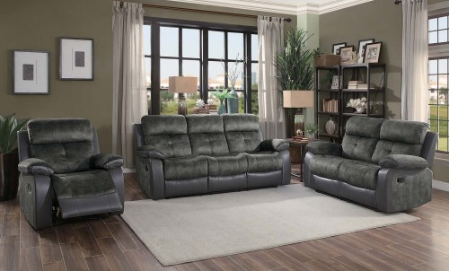 Acadia Reclining Sofa Set - Gray microfiber and bi-cast vinyl