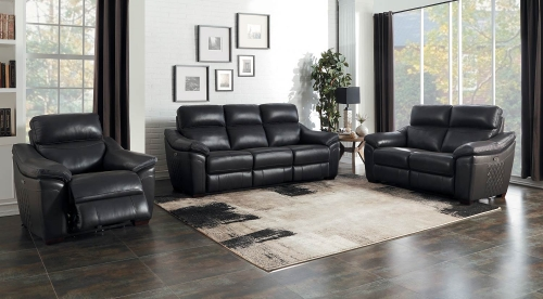 Renzo Power Reclining Sofa Set - Dark Gray