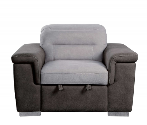 Alfio Chair with Pull-out Ottoman - Silver/Chocolate