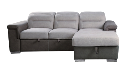 Alfio Sectional with Pull-out Bed and Hidden Storage - Silver/Chocolate