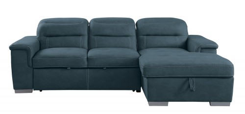 Alfio Sectional with Pull-out Bed and Hidden Storage Set - Blue