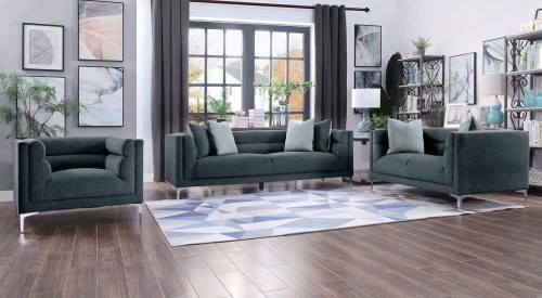 Vernice Sofa Set - Dark blue gray