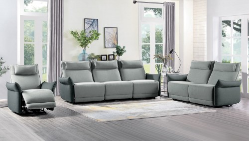 Linette Power Reclining Sofa Set - Gray