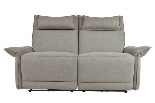 Linette Power Double Reclining Love Seat with Power Headrests - Taupe