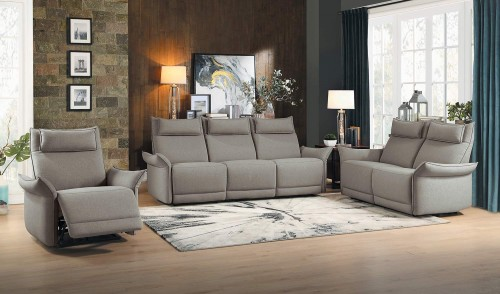Linette Power Reclining Sofa Set - Taupe