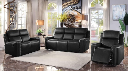 Altair Reclining Sofa Set - Black