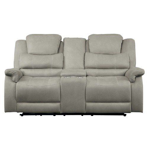 Shola Double Glider Reclining Love Seat with Center Console - Gray