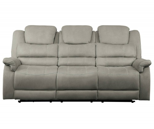 Shola Power Double Reclining Sofa with Power Headrests, Drop-Down Cup holders and Receptacles - Gray