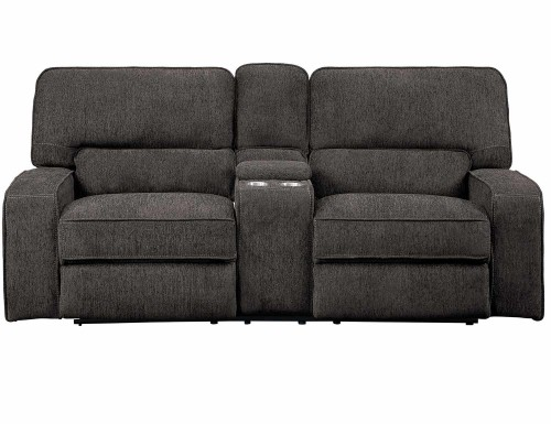 Borneo Power Double Reclining Love Seat with Center Console and Power Headrests - Chocolate