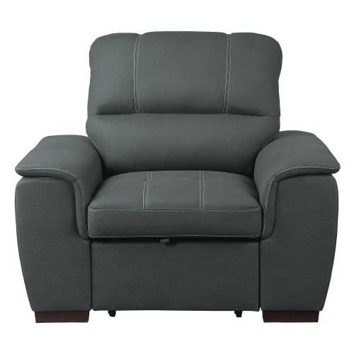 Andes Chair with Pull-out Ottoman - Gray