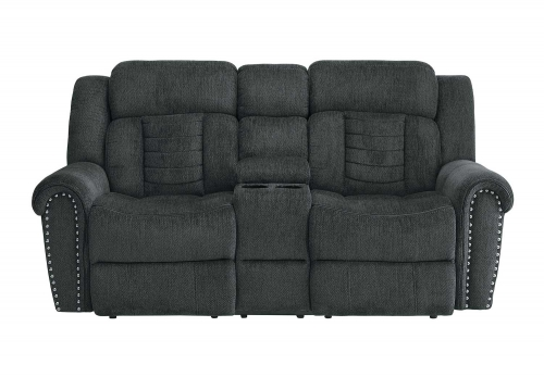 Nutmeg Double Reclining Love Seat With Center Console - Charcoal Gray