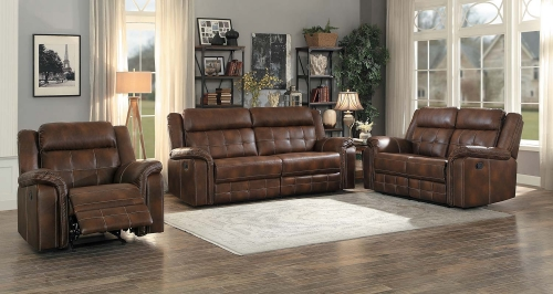 Keridge Reclining Sofa Set - Brown