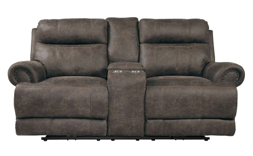 Aggiano Double Reclining Love Seat - Dark Brown