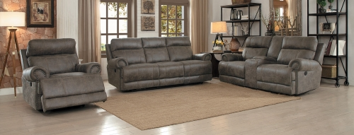 Aggiano Power Reclining Sofa Set - Dark Brown