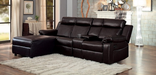 Dalal Reclining Sectional Sofa - Dark Brown - Dark brown bi-cast vinyl
