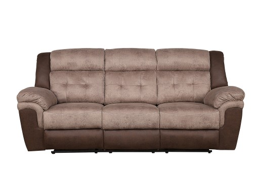 Chai Double Reclining Sofa - Brown and dark brown polished microfiber