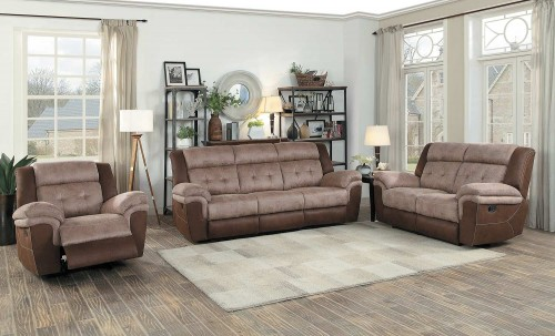 Chai Reclining Sofa Set - Brown and dark brown polished microfiber