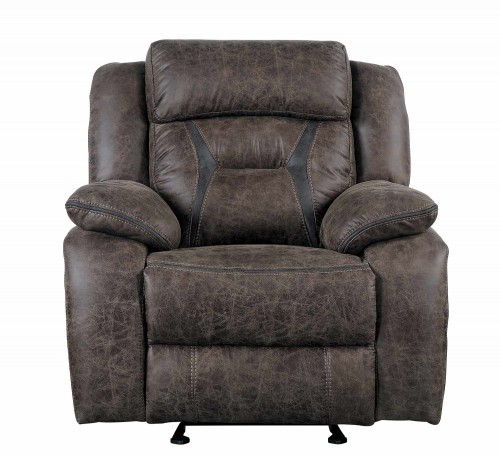 Madrona Gilder Reclining Chair - Dark brown polished microfiber
