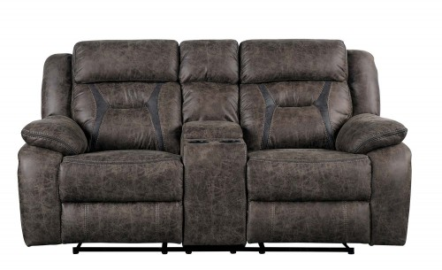 Madrona Double Reclining Love Seat with Center Console - Dark brown polished microfiber