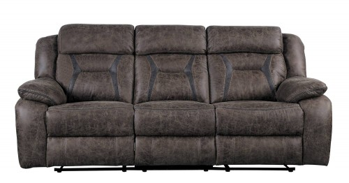 Madrona Double Reclining Sofa - Dark brown polished microfiber