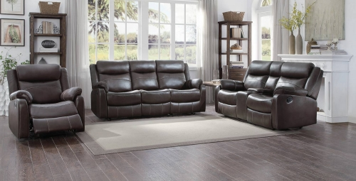 Yerba Reclining Sofa Set - Dark Brown