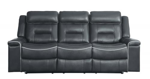 Darwan Double Lay Flat Reclining Sofa - Dark Gray