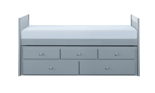 Orion Twin/Twin Trundle Bed with Two Storage Drawers - Gray