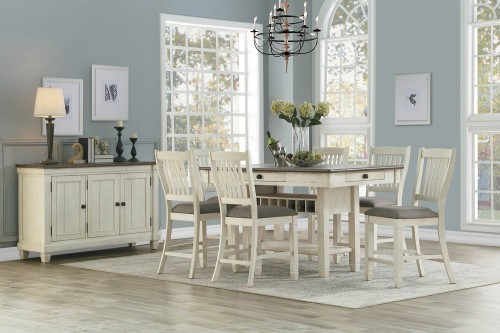 Granby Counter Height Dining Set - Antique White - Rosy Brown